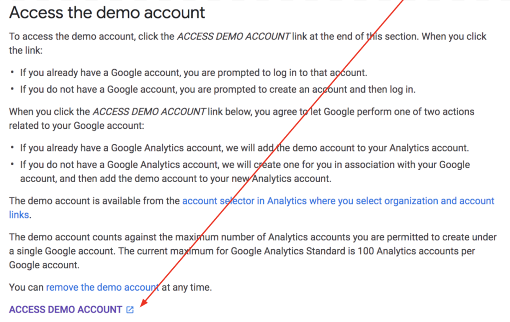 Google Analytics access the demo account