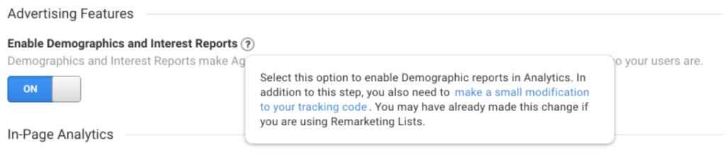 Google Analytics Advertising Features
