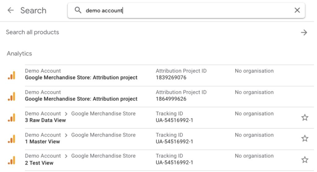 Google Analytics Demo Account Selection